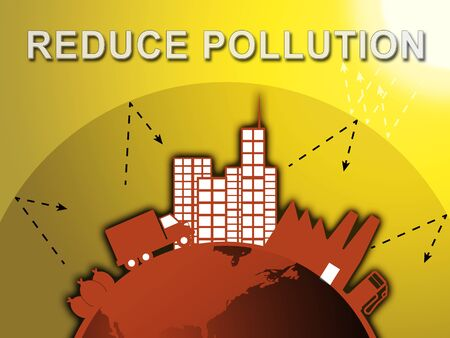 Reduce Pollution Around City Shows Stopping Filth 3d Illustration