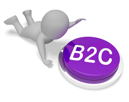 b2c: B2c Character Pushing Button Meaning Business To Customer 3d Rendering Stock Photo