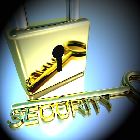 Padlock With Security Key Showing Protection Encryption Or Safety 3d Rendering