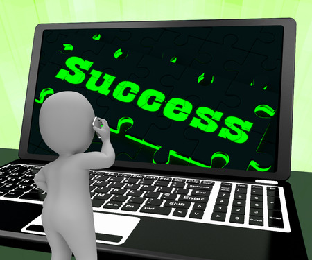 accomplishments: Success On Laptop Showing Solutions And Accomplishments 3d Rendering