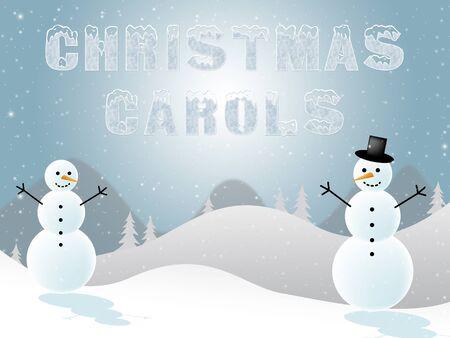 caroling: Christmas Carols Snowmen Scene Shows Xmas Music 3d Illustration