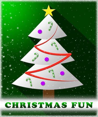 Christmas Fun Tree Showing Enjoy At Xmas 3d Illustration