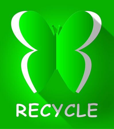Recycle Butterfly Cutout Shows Reuse Eco 3d Illustration