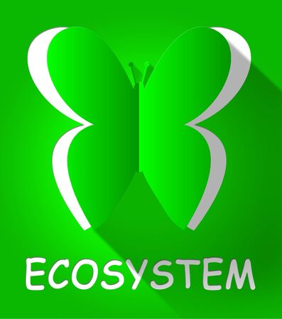 Ecosystem Butterfly Cutout Shows Eco Systems 3d Illustration