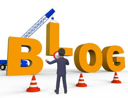 Build Blog Character Showing Internet Weblog 3d Rendering Stock Photo