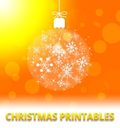 printables: Christmas Printables Ball Decoration Means Xmas Picture 3d Illustration