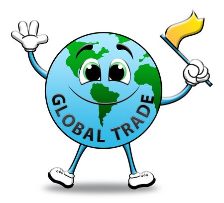 globally: Global Trade Globe Character Shows World Commerce 3d Illustration