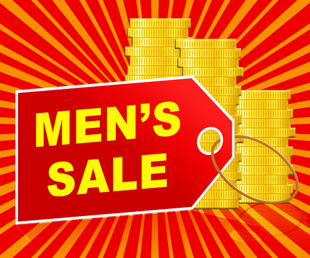 Mens Sale Label And Coins Represents Mens Offers 3d Illustration Stock Photo