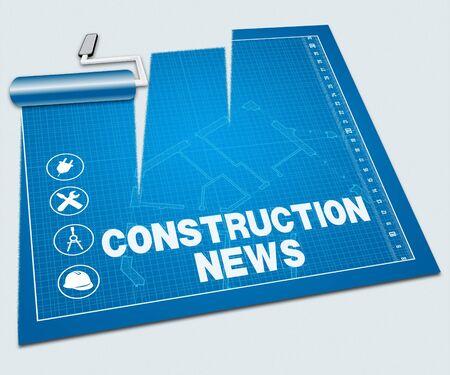bulletins: Construction News Paint Roller Shows Property Media 3d Illustration Stock Photo