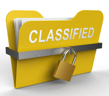 confidentially: Classified Folder With Padlock Indicates Restricted Information 3d Rendering