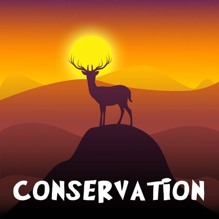 Wildlife Conservation Mountain Scene Shows Animal Preservation 3d Illustration Stock fotó