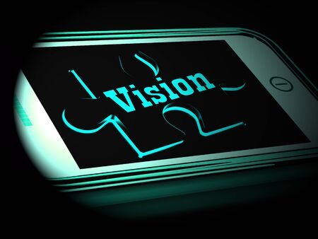 predictions: Vision On Smartphone Showing Predictions And Future Goals 3d Rendering