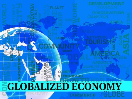 Globalized Economy Map Means Global Finances Or Monetary Policy