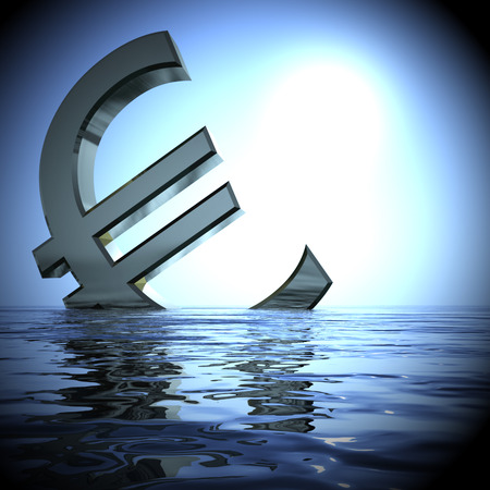 Euro Sinking In The Sea Showing Depression Recession And Downturns 3d Rendering