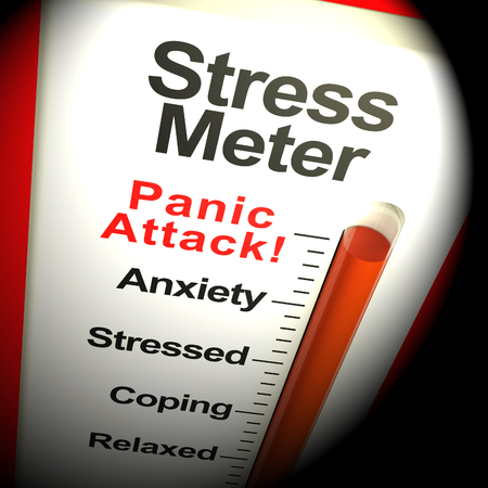 panic attack: Stress Meter Thermometer Showing  Panic Attack From Stressing 3d Rendering