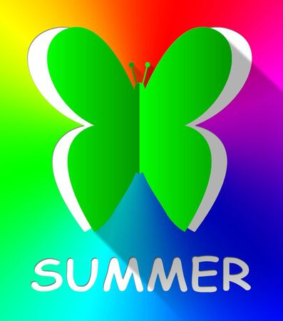 sunshine insect: Summer Butterfly Cutout Shows Summertime Nature 3d Illustration