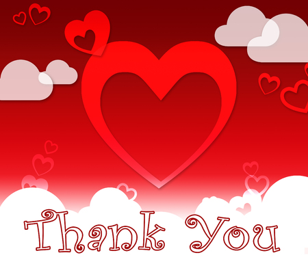agradecimiento: Thank You Hearts And Clouds Shows Gratitude And Love