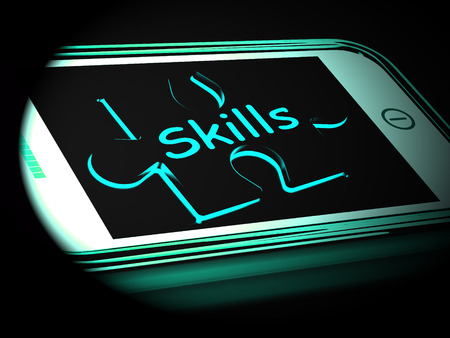 Skills On Smartphone Shows Abilities Talents 3d Rendering Stock Photo