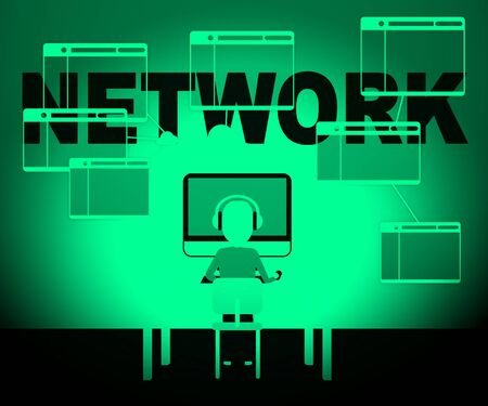 networked: Computer Network Character Representing Global Communications 3d Illustration Stock Photo