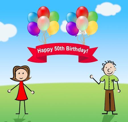 Happy Fiftieth Birthday Party Celebration Balloons 3d Illustration