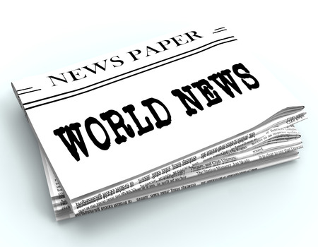 world news: World News Newspaper Represents Global Newsletter 3d Rendering