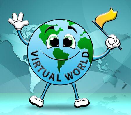 virtual world: Virtual World Globe Character Represents Global Internet 3d Illustration Stock Photo
