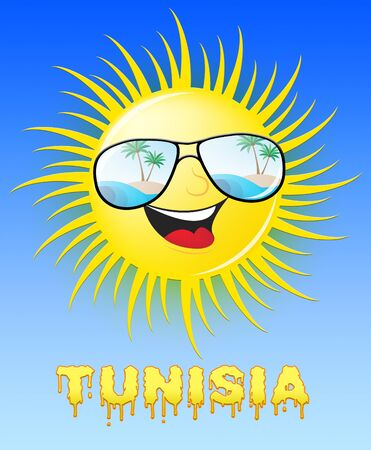 Tunisia Sun With Glasses Smiling Means Sunny 3d Illustration Stock Photo