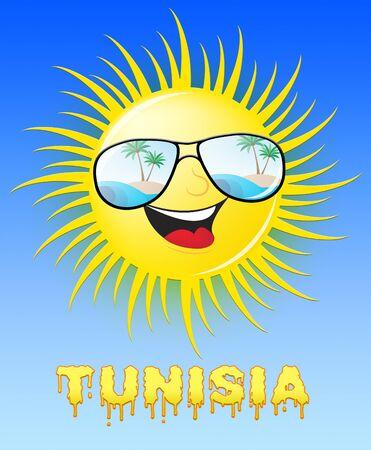 Tunisia Sun With Glasses Smiling Means Sunny 3d Illustration Reklamní fotografie