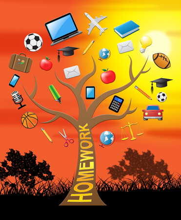Homework Tree With Icons Shows Study Assignment 3d Illustration