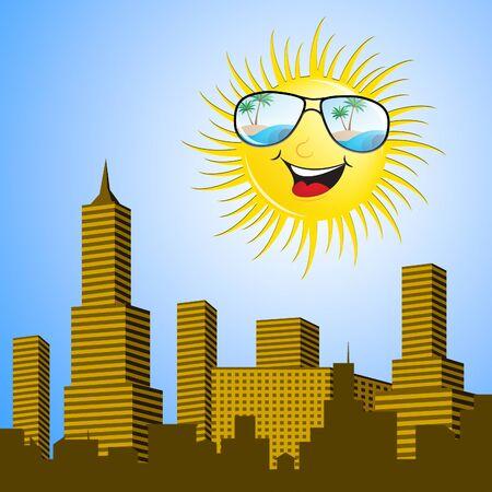 Sun Over The City Shows Hot Cityscape 3d Illustration
