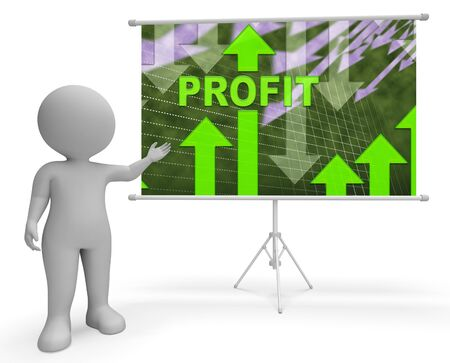 Profit Graph Character Showing Growth Earning And Income 3d Illustration