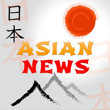 Asian News Mountain And Sun Symbols Shows Oriental Current Events Media