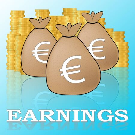 Euro Earnings Showing Salary Income 3d Illustration