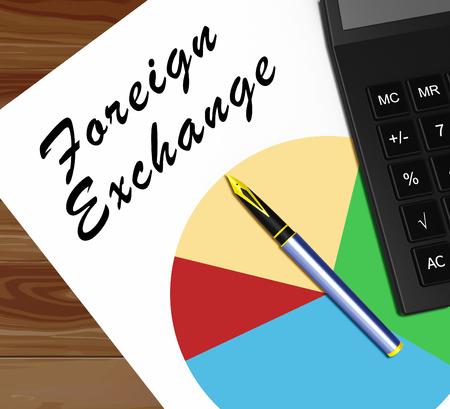 Foreign Exchange Graph Means Forex Rate 3d Illustration Banco de Imagens