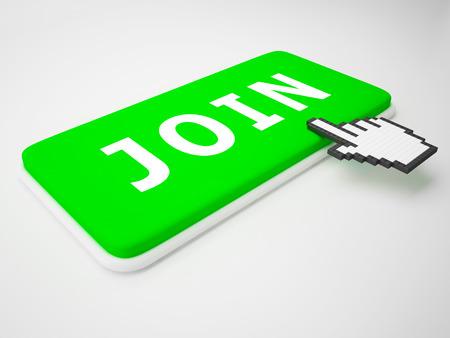 Join Key Representing Membership Admission 3d Rendering Stock Photo