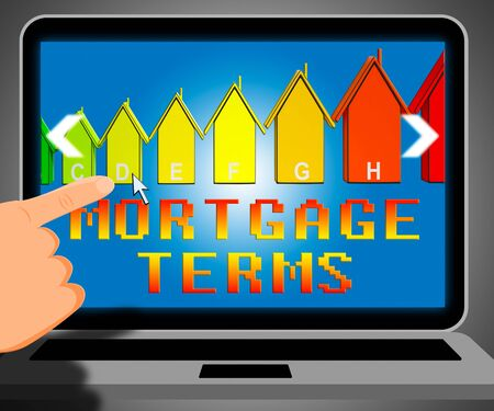 Mortgage Terms Laptop Representing Housing Loan 3d Illustration Stock Photo