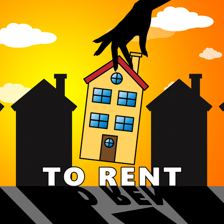 rentals: House To Rent Meaning Property Rentals 3d Illustration