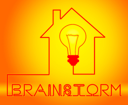 Brainstorm Light Meaning Dream Up And Brainstorming Stock Photo