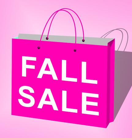 Fall Sale Bag Displays Autumn Commerce Sales 3d Rendering
