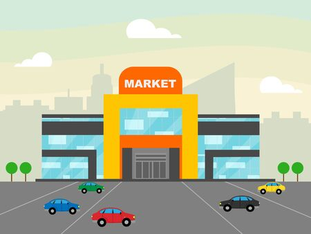 Market Sign Shops Showing Grocery Shopping 3d Illustration Stock Photo