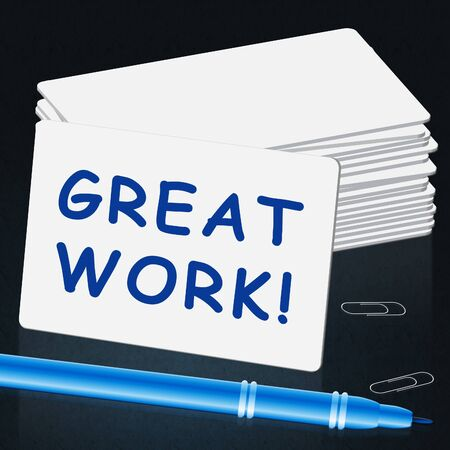commend: Great Work Card Showings Awesome Work 3d Illustration