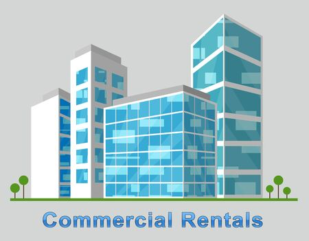 rentals: Commercial Rentals Downtown Describes Real Estate 3d Illustration Stock Photo