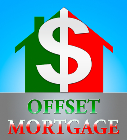 Offset Mortgage Dollar Icon Indicates Home Loan 3d Illustration