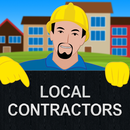 Local Contractors Shows Neighborhood Contractor 3d Illustration Stock Photo