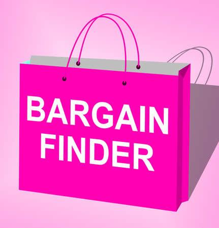 incredible: Bargain Finder Bag Displays Internet Comparison 3d Illustration