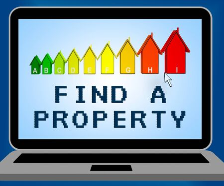 searches: Find A Property Laptop Representing Home Search 3d Illustration