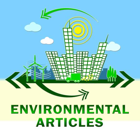 articles: Environmental Articles Town Showing Eco Publication 3d Illustration