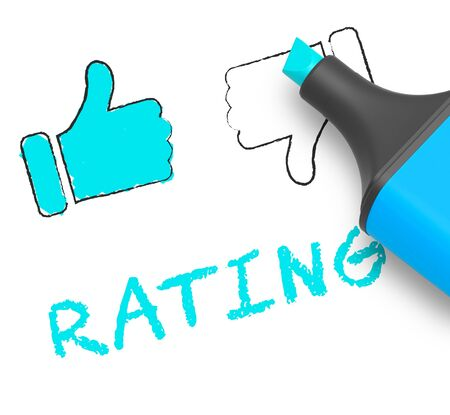 Thumbs Up Rating Displaying Performance Report 3d Illustration Stock Photo