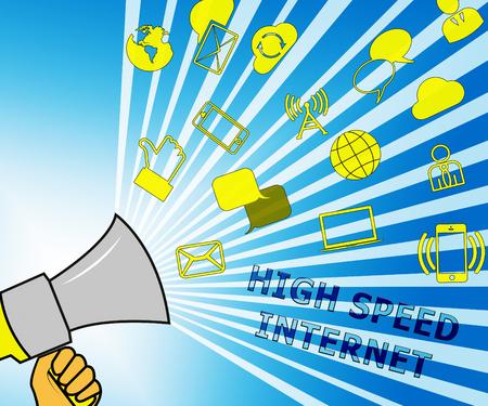 high speed internet: High Speed Internet Icons Representing Broadband 3d Illustration Stock Photo