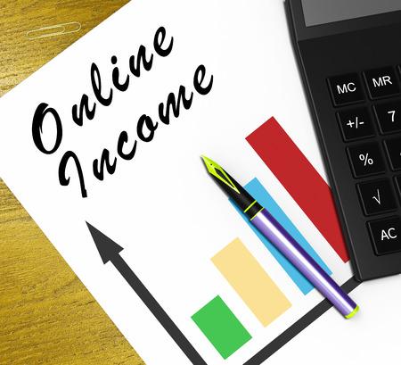 Online Income Graph Meaning Internet Revenue 3d Illustration